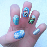 Frozen, Christmas, Character Nail Art, Stocking Filler, Festive, False, Fake, Acrylic, Press On Nail Set