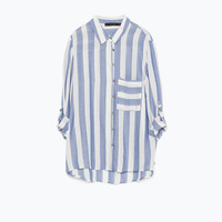 Blue wide striped shirt