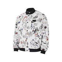 Nike Men's Sportswear NSW Bomber Jacket White Black Sketches Print