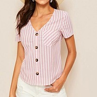 Single Pocket Button Up Striped Tunic Shirt Top Blouse