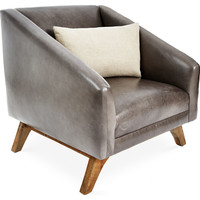 Anna Leather Accent Chair, Wolf Gray, Accent & Occasional Chairs