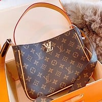 LV Fashion New Monogram Print Leather Shoulder Bag Crossbody Bag Handbag Coffee