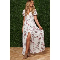 Vibes In The Garden Floral Dress (Ivory)