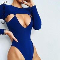 Cryptographic Sexy Hollow Out Women Bodysuit 2019 New Fashion Casual Bodycon Bodysuits O Neck Long Sleeve Solid Skinny Rompers