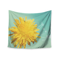 """Beth Engel """"You Are My Sunshine"""" Teal Flower Wall Tapestry"""