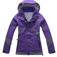 Women's Warm Ski Clothes Sweatshirt Coat With Hat 2 piece Clothing Waterproof Windproof Breathable Wicking Camping & Hiking Jackets HW0003