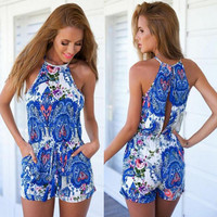 Slim Sexy Fashion Sleeveless Print Halter Jumpsuit