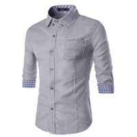 Mens Slim Lined with Cuff Design Dress Shirt
