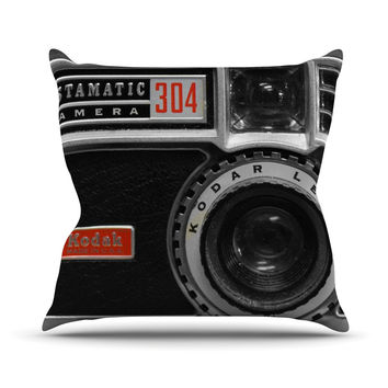 """Robin Dickinson """"Instamatic Red"""" Black Gray Outdoor Throw Pillow"""