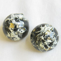 Vintage Black and White Swirl Lucite with Gold Foil Confetti High Dome Button Earrings
