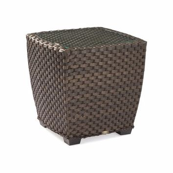 Leeward Outdoor Wicker End Table with Glass Top