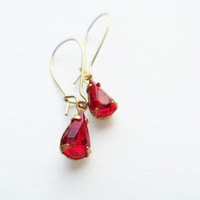 Vintage Earrings Glass Dangles Ruby Red Pear Shaped Accessories Gift Idea For Her Stocking Stuffer Under 15
