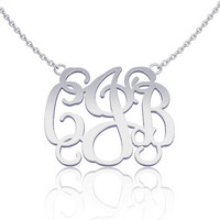 Monogram Necklace Silver 1.0 inch- Custom Made Initials Monogrammed Necklace Name Jewelry, nameplate jewelry gift for her