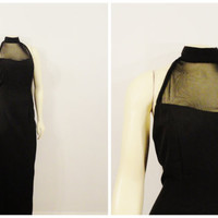 Vintage Dress 60s Black Formal Mermaid Fishtail Evening Gown Nude Illusion Sheer Size 7/8 Modern Size Small to Medium