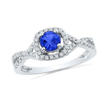 10k White Gold Round Created Blue Sapphire Solitaire Diamond Ring 1/5 Cttw