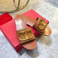 Hcxx 2374 19May Valentino Big V Button Causal Sandals Coffee