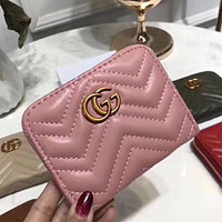 GG Hot Sale New Fashion Women Leather Zipper Wallet Purse+Gift Box Pink