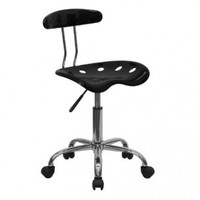 Vibrant Black and Chrome Task Chair with Tractor Seat