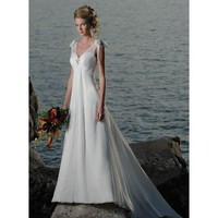 Empire V-neck Chapel Train Satin wedding dress for  brides  2011 Style(WD0201 ) - Empire - Wedding Dresses
