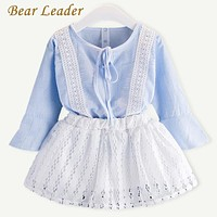 Girls Clothing Sets Spring Kids Clothing Sets Plaid Lace Shirt+Lace Skirt for Baby Girls Clothes Suit