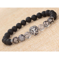 Natural Matte black silver lion head Buddhist Buddha Meditation Beads Bracelets Jewelry Prayer Bead Bracelet free shipping