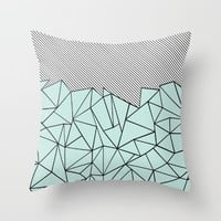 Ab Lines 45 Mint Throw Pillow by Project M