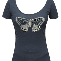 Butterfly Scoop Neck Tee