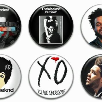 """Set of 6 New The Weeknd 1.25"""" Pinback Button Badge Pin"""