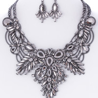 Emilia Gem Statement Necklace and Earrings Set