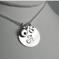 ON SALE NEW May Birthstone Sterling Silver Charm Necklace, Zodiac Necklace, Taurus Necklace, Gemini Necklace