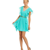 GB Belted Ruffle-Front Dress | Dillard's Mobile