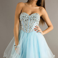 Beaded Strapless Short Dress by Dave & Johnny