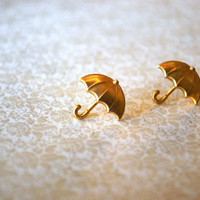 Umbrella Earrings -- Gold Umbrella Studs, Brass Studs, Mary Poppins Earrings