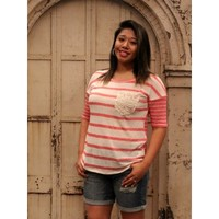 Stripe Lace Goodness Top - Coral