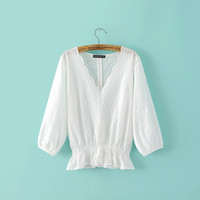 Summer Hollow Out Embroidery Shaped V-neck Tops Shirt [6332328452]