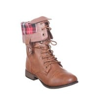 New! Military Combat Boot Fold-over Cuff+multi-color Zipper on the Back (8, lg/tan) [Apparel]