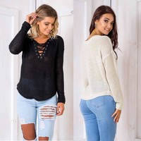 Tops Winter Long Sleeve Sexy V-neck Sweater [39675494426]