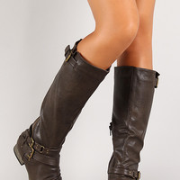 Slanted Zipper Layered Straps Knee High Riding Boot