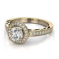 AMAZING 1.90CT WHITE ROUND STUD 925 STERLING SILVER ENGAGEMENT AND WEDDING RING