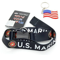 """Official Licensed Products Military """"US MARINES"""" Black Lanyard-Brand New!"""