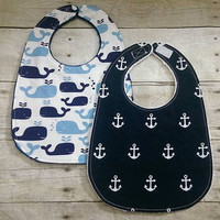Nautical baby boy minky bibs - Set of 2 whales, anchors modern drooling bibs - 3 layers baby boy shower gift