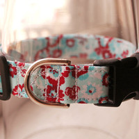 Handmade Dog/Cat Collar - Blue & Red Floral Hibiscus - Adjustable Buckle - Fabric Dog Accessory - Pet Accessories - Breakaway Cat Collar