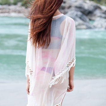 Women Poncho Oversized laced beach coverup