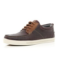 Dark brown moccasin boat shoes - boat shoes - shoes / boots - men