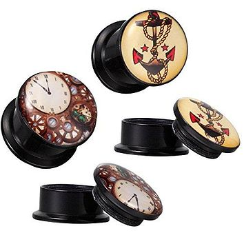 Steampunk Screw Fit Plugs and Anchor with Black Tapers Kit 4G-16mm (6 Pieces)
