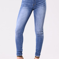 Vacant Heart Jeans - Medium Blue
