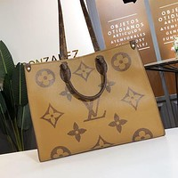 Louis Vuitton LV Fashion Women Double-sided Spliced Printed Letter Large-capacity Tote Bag Shoulder Bag