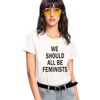 New 2018 Summer women's short sleeves we should all be feminists letters printed casual large vogue feminist t-shirts