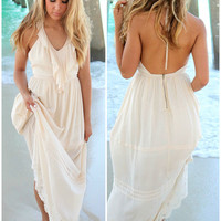 Beach Breeze Cream Halter Top Ruffle Maxi Dress
