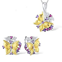 Butterfly Created Red Stones Earrings Pendant Necklace 925 Sterling Silver Fashion Jewelry Set